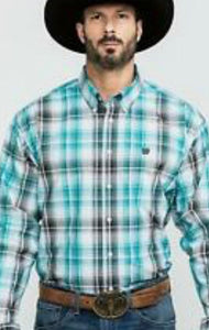Men's Cinch Long Sleeve Shirt MTW1104898 Black/Turquoise