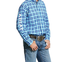 Men's Ariat Long Sleeve Shirt 10030674 Blue/Turquoise/White