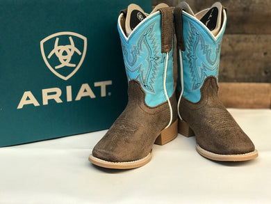 Kid's Ariat Bristo Tan & Blue Square Toe Boots