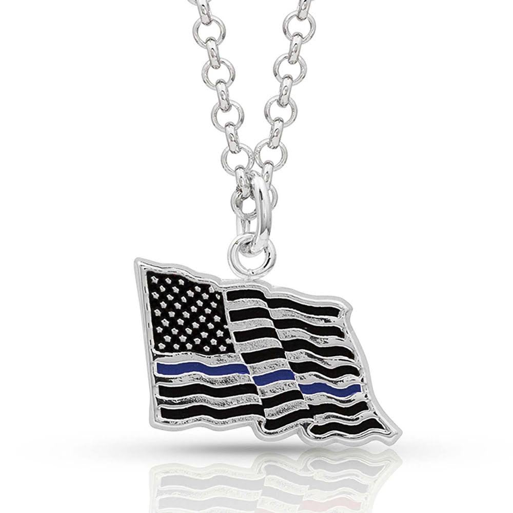 Montana Silversmiths I Stand Behind the Thin Blue Line Flag Necklace