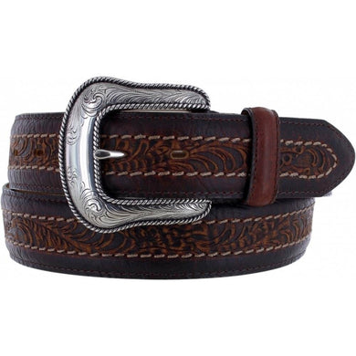 Men's Justin Sheridan Brown Floral Embossed Belt
