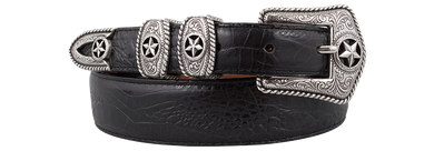Men's Tony Lama Black Country Croc Belt