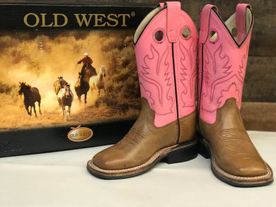 Kid's Old West Pink & Tan Square Toe Boots