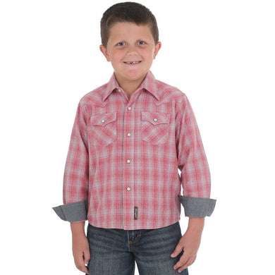 Boy's Wrangler Retro Red & Grey Plaid Long Sleeve Shirt