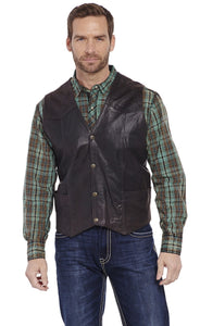 Men's Cripple Creek Chocolate Antique Suede Leather Vest