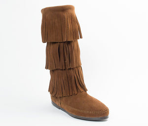 Women's Minnetonka Dusty Brown 3 Layer Fringe Boot