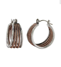 Load image into Gallery viewer, Montana Silversmiths Two Tone Rope Hoop Earrings
