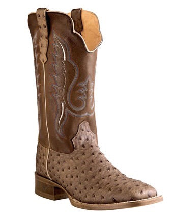 Men's Outlaw by Old West Brown Ostrich Print Boots
