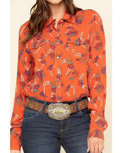 Women's Cruel Girl Floral Horseshoe Button-Up Shirt