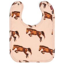 Load image into Gallery viewer, Baby Milkbarn Organic Cotton Horse Print Traditional Bib