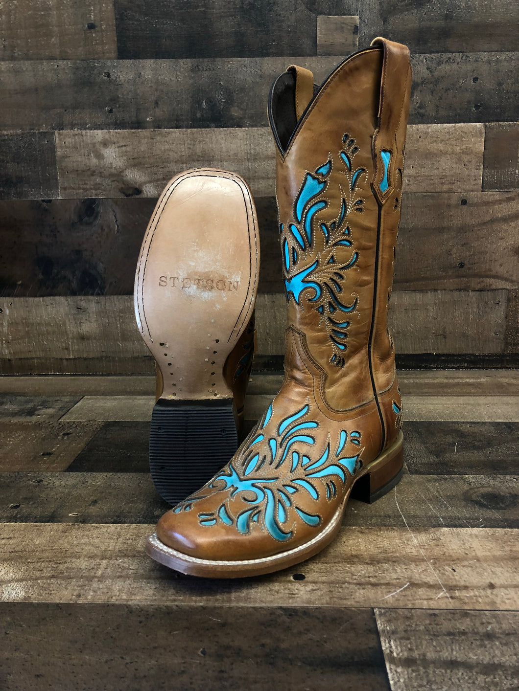 Women's Stetson Tan with Turquoise Inlay Boots