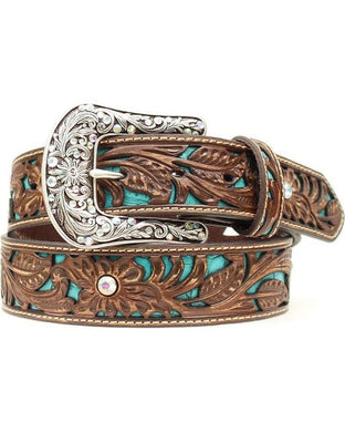 Kid's Ariat Brown & Turquoise Floral Rhinestone Belt