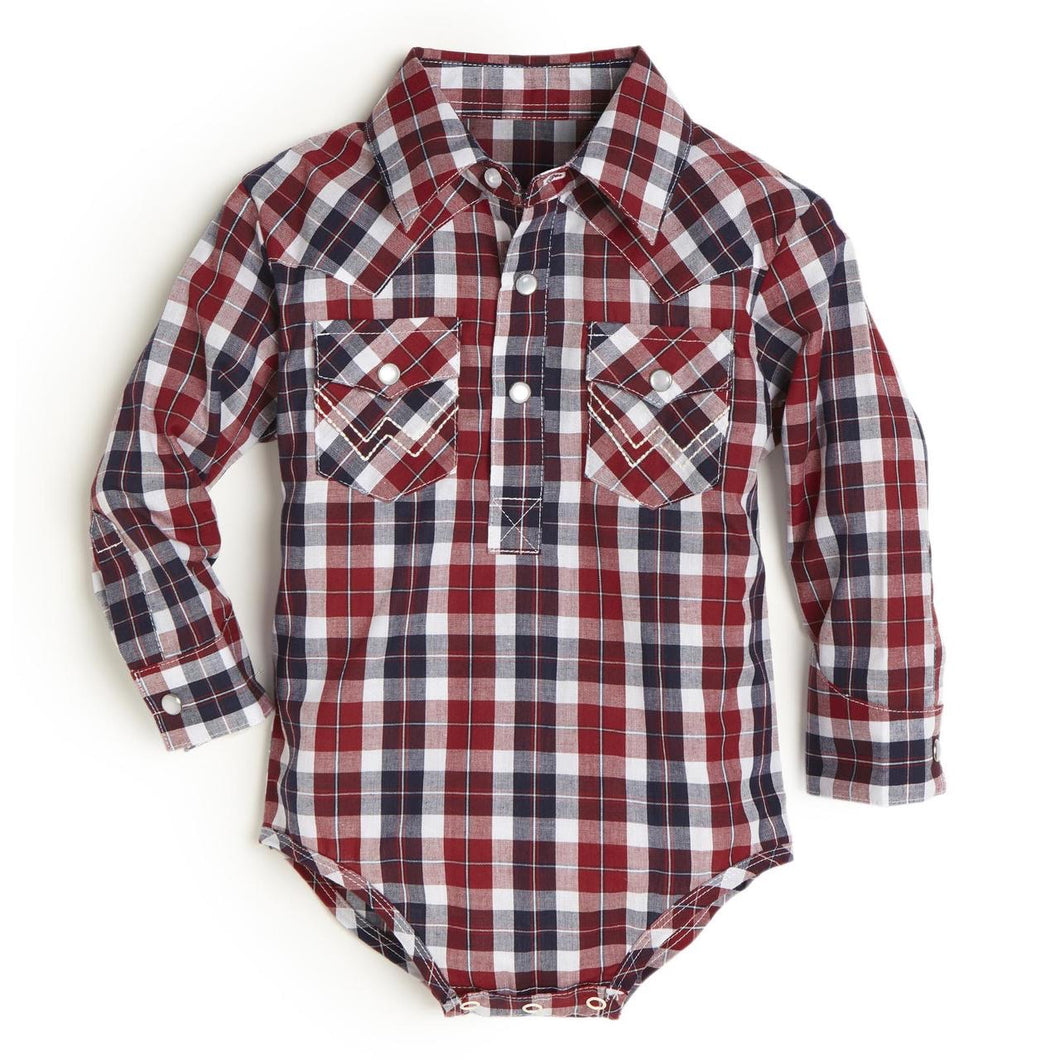 Baby Wrangler Red & Blue Plaid Pearl Snap Onesie