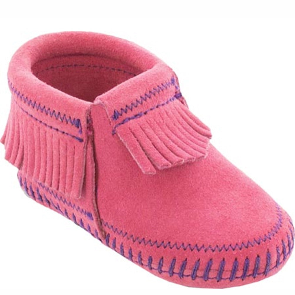 Minnetonka Riley Bootie Hot Pink Baby Moccasins