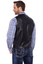 Load image into Gallery viewer, Men's Cripple Creek Black Lamb Leather Vest