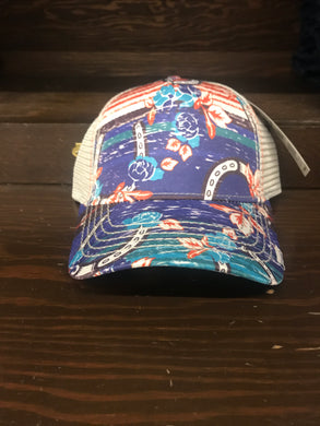 Horseshoe Flower Print Ball Cap