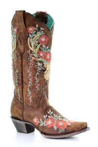 Women's Corral Tan Deer Skull Boots