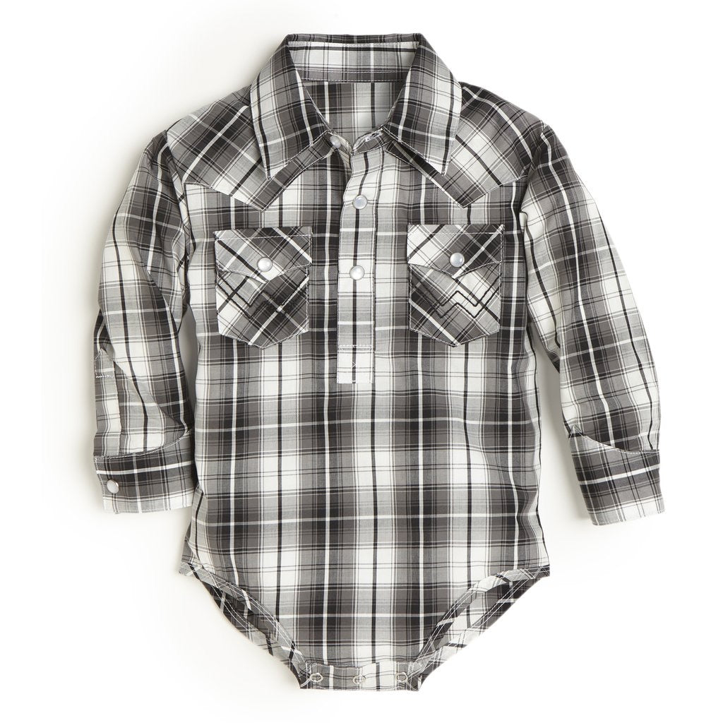 Baby Wrangler Black Plaid Pearl Snap Onesie