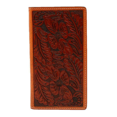 3D Belt Co Tan Floral Hand-Tooled Rodeo Wallet