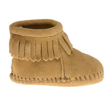 Load image into Gallery viewer, Minnetonka Back Strap Bootie Tan Baby Moccasins