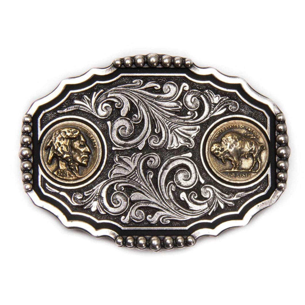 Montana Silversmiths Two Tone Buffalo Nickel Attitude Buckle