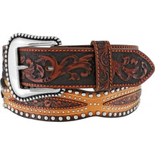 Load image into Gallery viewer, Men's Tony Lama Austin Scallop Brown Belt