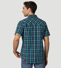 Load image into Gallery viewer, Men's Wrangler Retro Turquoise & Black Plaid Short Sleeve Shirt