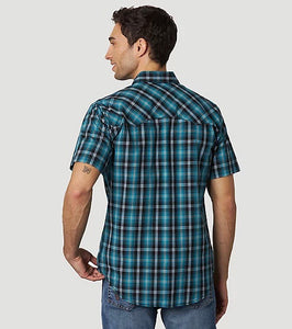 Men's Wrangler Retro Turquoise & Black Plaid Short Sleeve Shirt