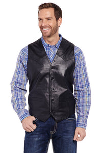 Men's Cripple Creek Black Lamb Leather Vest