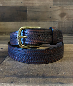 Men's Leegin Emboss with Stitch Brown Belt