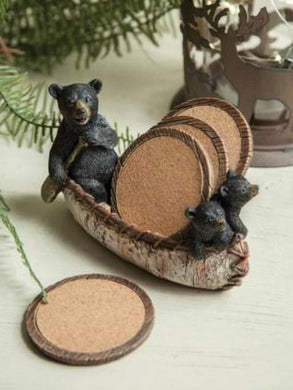 Black Bear Canoe Coaster Set