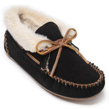 Load image into Gallery viewer, Women's Minnetonka Chrissy Black Slippers