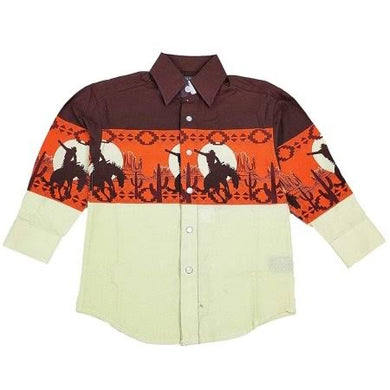Boy's Panhandle Scenic Border Print Long Sleeve Shirt