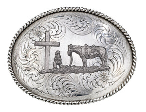 Montana Silversmiths Antiqued Oval Christian Cowboy Engraved Buckle