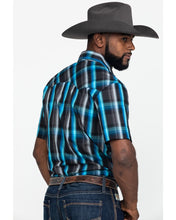 Load image into Gallery viewer, Men's Wrangler Turquoise & Black Plaid Short Sleeve Shirt