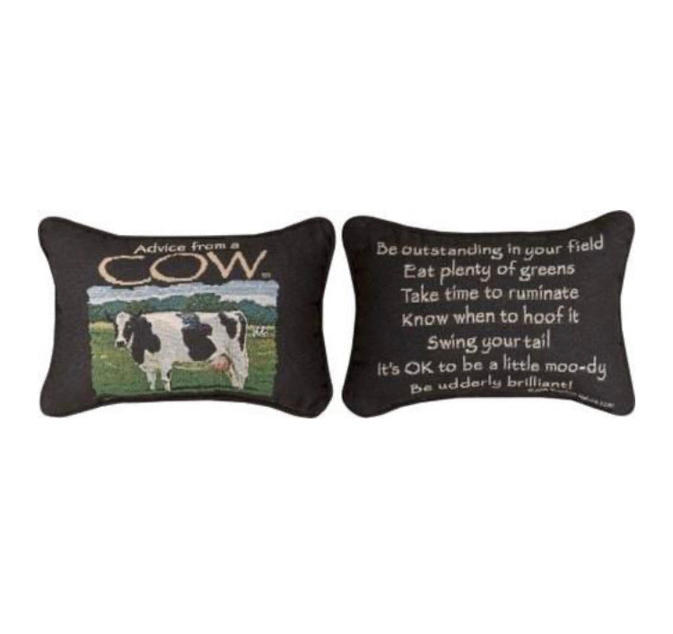 Advice From a Cow Reversible Pillow