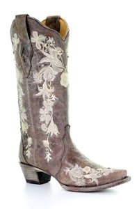 Women's Corral Tobacco Floral Embroidered Crystal and Stud Boots