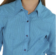 Load image into Gallery viewer, Girl's Cruel Girl Blue Shimmer Striped Long Sleeve Shirt