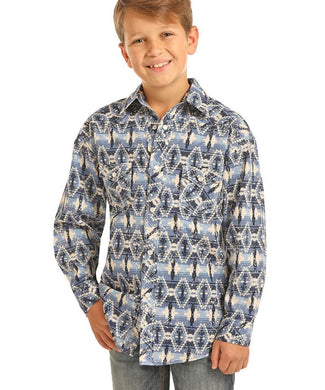 Boy's Rock & Roll Blue Aztec Print Long Sleeve Shirt