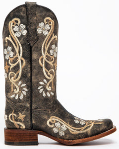 Women's Circle G by Corral Distressed Black Floral Boots