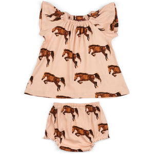Baby Milkbarn Horse Dress & Bloomer Set