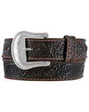 Load image into Gallery viewer, Men's Tony Lama Black Floral Tooled Belt