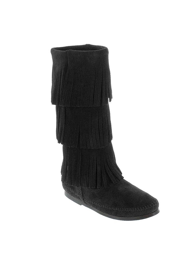 Women's Minnetonka Black 3 Layer Fringe Boot