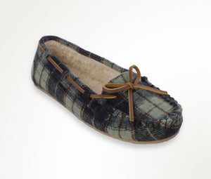 Women's Minnetonka Plaid Cally Navy Moccasins