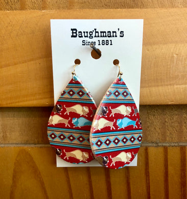Women's Red Leather Buffalo Earrings
