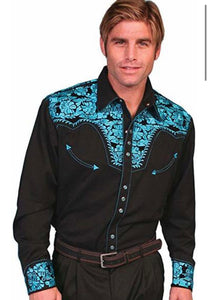 Men's Scully Long Sleeve Shirt P-634 Turquoise