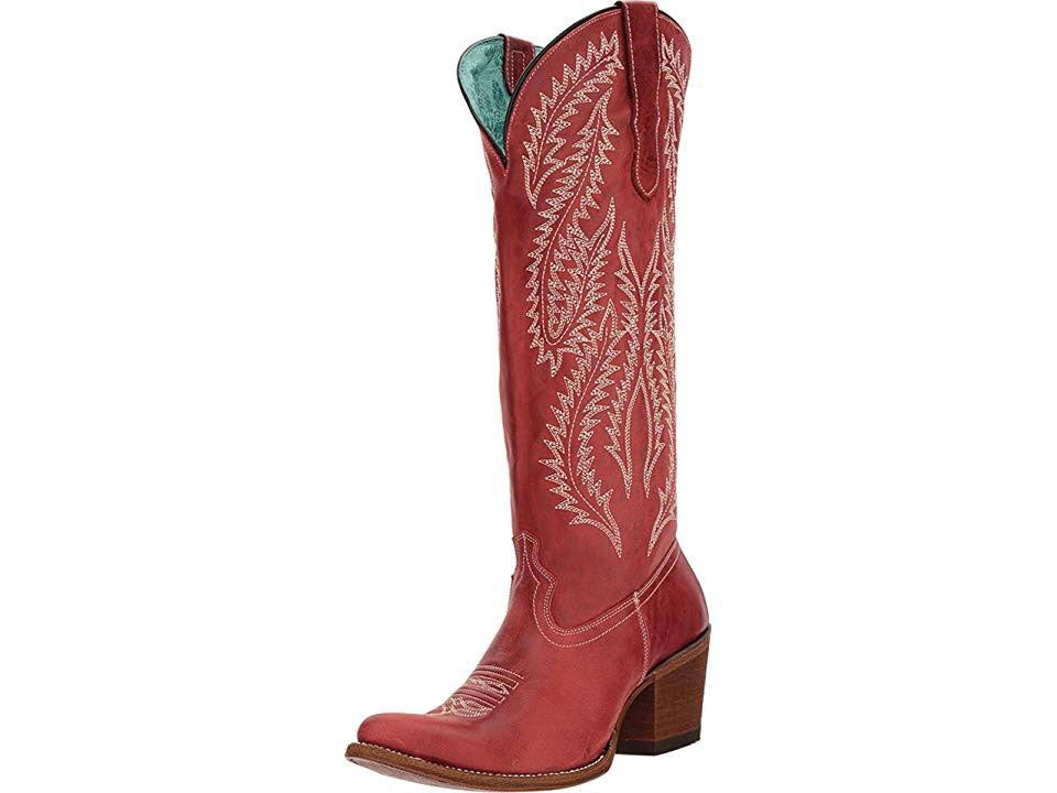 Women's Corral Red Embroidery Tall Top Boots