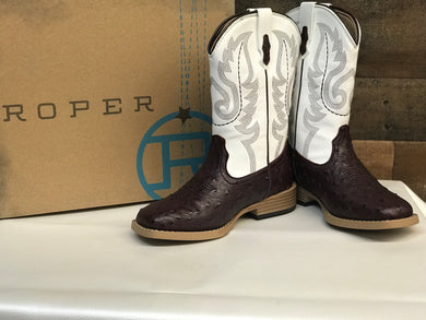 Kid's Roper Ostrich Print Brown/White
