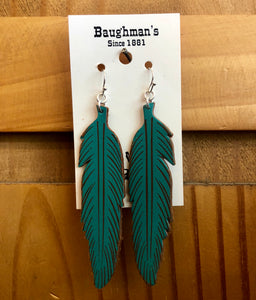 Women's Turquoise Feather Leather Earrings