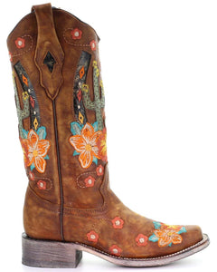 Women's Corral Honey Cactus Inlay Boots